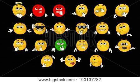 3d render of various emoticons isolated on black