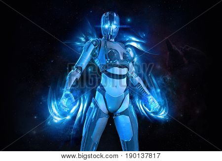 3d render of a cyborg female with energy