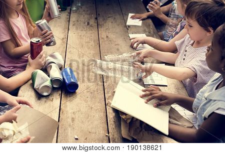 Group of kids classmates learning biology recycle environment