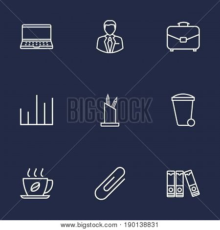 Set Of 9 Bureau Outline Icons Set.Collection Of Administrator, Pen Storage, Fastener Paper And Other Elements.