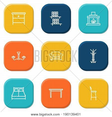 Set Of 9 Decor Outline Icons Set.Collection Of Armchair, Table, Fireplace And Other Elements.
