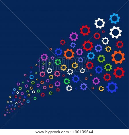 Source of gear symbols. Vector illustration style is flat bright multicolored gear iconic symbols on a blue background. Object stream created from scattered symbols.
