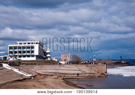 Russia, Komsomolsk-on-amur, April 21: River Station In The Spring