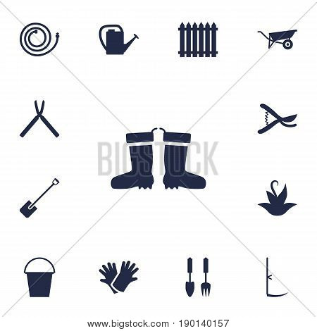Set Of 13 Horticulture Icons Set.Collection Of Watering Can, Fence, Scissors And Other Elements.