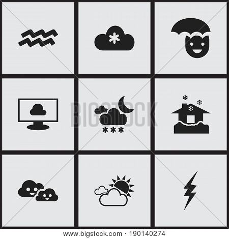 Set Of 9 Editable Climate Icons. Includes Symbols Such As Twilight, High Voltage, Cloud On The Screen And More. Can Be Used For Web, Mobile, UI And Infographic Design.