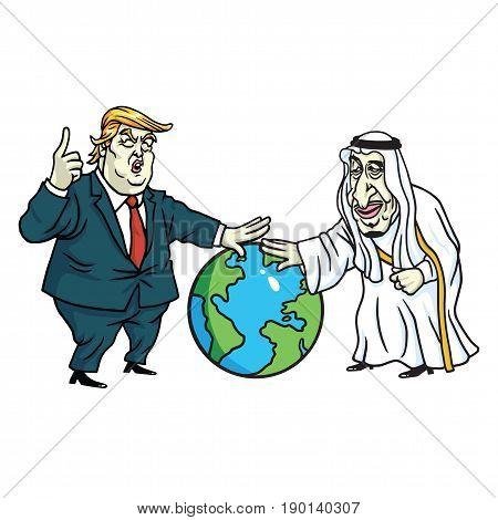Donald Trump and King Salman Laying Hands on Globe. Cartoon Vector. June 8, 2017