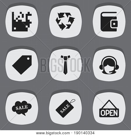 Set Of 9 Editable Shopping Icons. Includes Symbols Such As Tag, Explicit, Identification And More. Can Be Used For Web, Mobile, UI And Infographic Design.