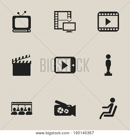 Set Of 9 Editable Filming Icons. Includes Symbols Such As Tablet Play, Movie Player, Portable Camera And More. Can Be Used For Web, Mobile, UI And Infographic Design.