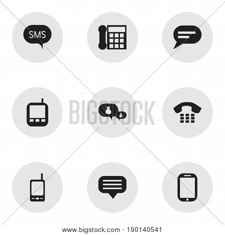 Set Of 9 Editable Device Icons. Includes Symbols Such As Tablet, Transceiver, Message And More. Can Be Used For Web, Mobile, UI And Infographic Design.