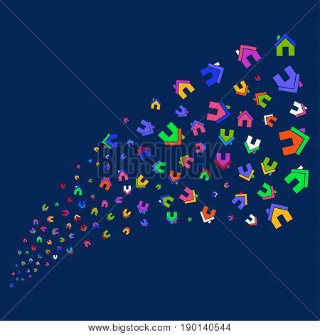 Source of home symbols. Vector illustration style is flat bright multicolored home iconic symbols on a blue background. Object fountain made from scattered design elements.