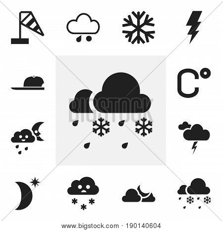 Set Of 12 Editable Weather Icons. Includes Symbols Such As Celsius, Wind Measurement, Crescent Overcast And More. Can Be Used For Web, Mobile, UI And Infographic Design.