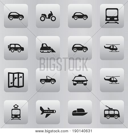 Set Of 16 Editable Transport Icons. Includes Symbols Such As Family Jeep, Omnibus, Car Vehicle And More. Can Be Used For Web, Mobile, UI And Infographic Design.