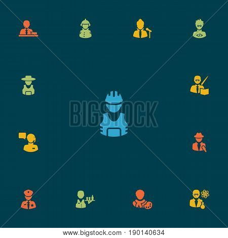 Set Of 13 Job Icons Set.Collection Of Tray, Leaner, Coder And Other Elements.