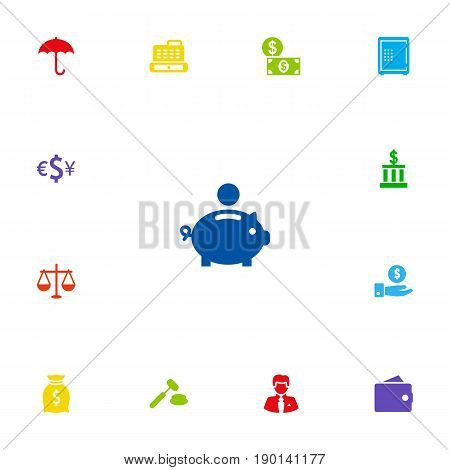 Set Of 13 Budget Icons Set.Collection Of Umbrella, Sack, Worker And Other Elements.