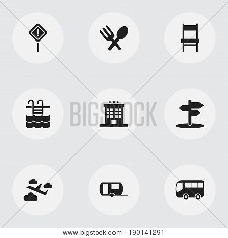 Set Of 9 Editable Trip Icons. Includes Symbols Such As Stool, Aviation, Basin And More. Can Be Used For Web, Mobile, UI And Infographic Design.