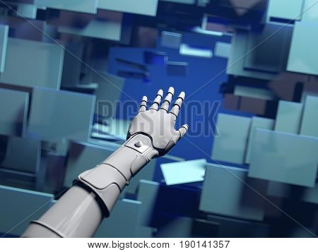 mechanical hand passes through a barrier, 3d illustration