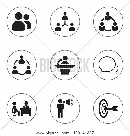 Set Of 9 Editable Community Icons. Includes Symbols Such As Unity, Goal, Conversation And More. Can Be Used For Web, Mobile, UI And Infographic Design.