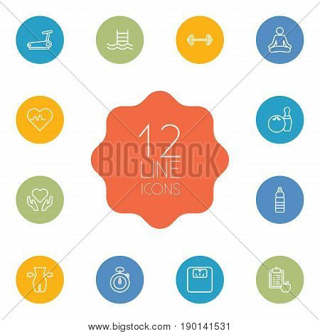 Set Of 12 Bodybuilding Outline Icons Set.Collection Of Pool, Bowling, Scales And Other Elements.