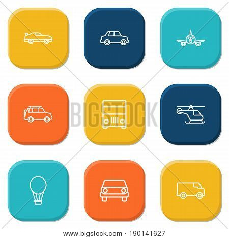 Set Of 9 Traffic Outline Icons Set.Collection Of Air Balloon, Helicopter, Lorry And Other Elements.