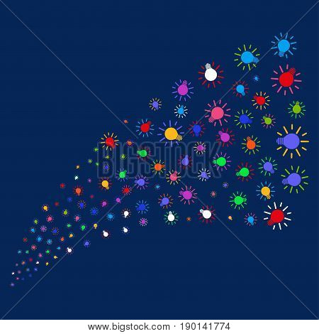 Source stream of light bulb symbols. Vector illustration style is flat bright multicolored light bulb iconic symbols on a blue background. Object source combined from scattered symbols.