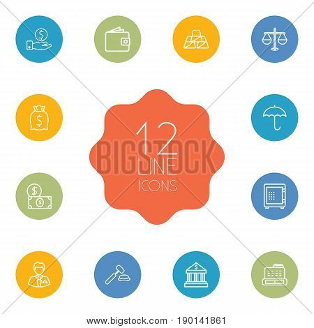 Set Of 12 Budget Outline Icons Set.Collection Of Safe, Savings, Businessman And Other Elements.
