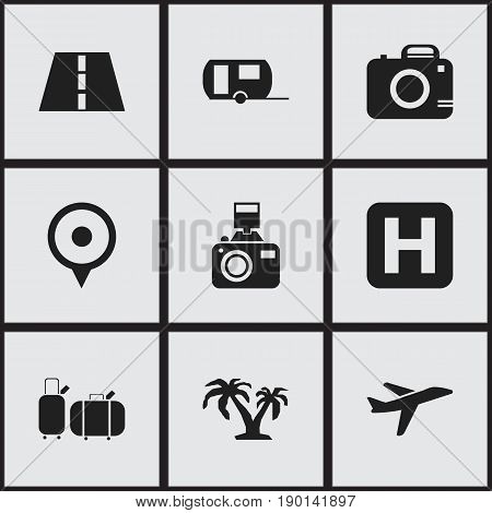 Set Of 9 Editable Holiday Icons. Includes Symbols Such As Vacation, Suitcases, Helipad And More. Can Be Used For Web, Mobile, UI And Infographic Design.