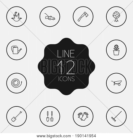 Set Of 12 Household Outline Icons Set.Collection Of Plant Pot, Firehose, Bailer And Other Elements.