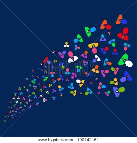 Source stream of manager symbols. Vector illustration style is flat bright multicolored manager iconic symbols on a blue background. Object stream made from scattered symbols.
