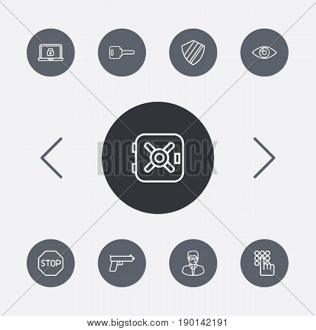 Set Of 9 Security Outline Icons Set.Collection Of Keypad, Weapon, Open And Other Elements.