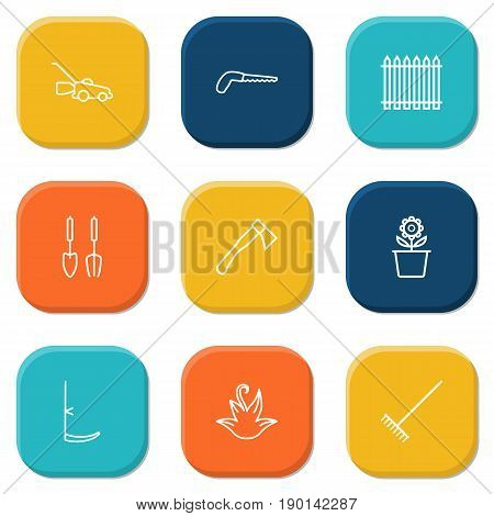 Set Of 9 Farm Outline Icons Set.Collection Of Harrow, Plant Pot, Arm-Cutter And Other Elements.
