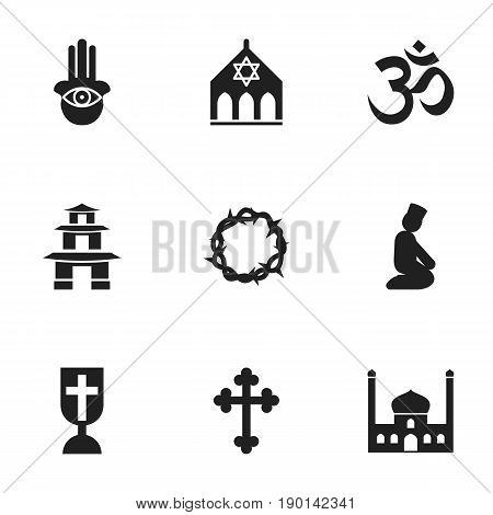 Set Of 9 Editable Faith Icons. Includes Symbols Such As Temple, Eye On Hand , Pray. Can Be Used For Web, Mobile, UI And Infographic Design.