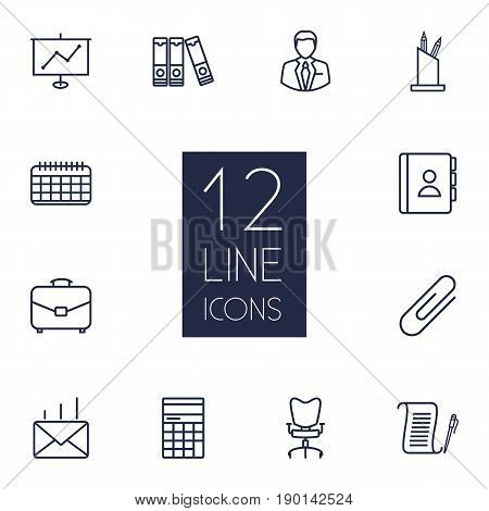 Set Of 12 Bureau Outline Icons Set.Collection Of Portfolio, Telephone Directory, Counter And Other Elements.