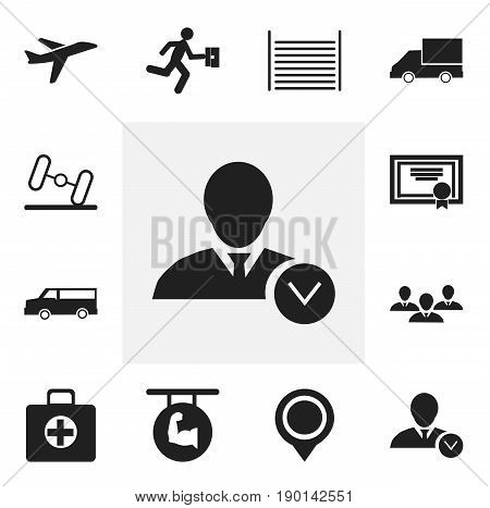 Set Of 12 Editable Complicated Icons. Includes Symbols Such As Aircraft, First Aid Box, Biceps And More. Can Be Used For Web, Mobile, UI And Infographic Design.