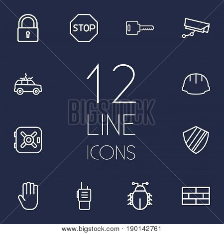 Set Of 12 Procuring Outline Icons Set.Collection Of Protection, No Entry, Virus And Other Elements.