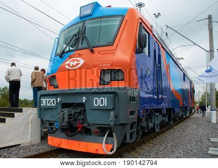 MOSCOW, SEP,08, 2011, Exhibition EXPO1520: Front view on Russian electric locomotive EP20. New modern high speed Russian locomotives for passenger trains. Event organizer Business Dialogue