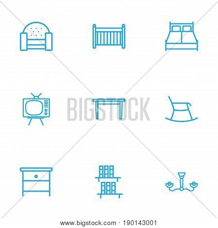 Set Of 9 Decor Outline Icons Set.Collection Of Bookshelf, Tv Set, Moving Chair And Other Elements.
