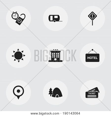 Set Of 9 Editable Journey Icons. Includes Symbols Such As Tabernacle, Caravan, Caution And More. Can Be Used For Web, Mobile, UI And Infographic Design.