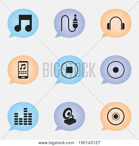 Set Of 9 Editable Audio Icons. Includes Symbols Such As Stereo Plug, Smartphone, Musical Symbol And More. Can Be Used For Web, Mobile, UI And Infographic Design.