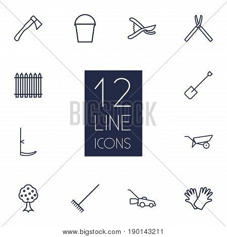 Set Of 12 Horticulture Outline Icons Set.Collection Of Safer Of Hand , Shears, Grass-Cutter Elements.
