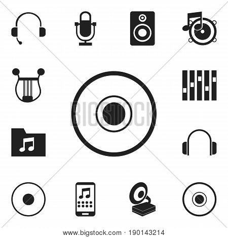 Set Of 12 Editable Song Icons. Includes Symbols Such As Call Center, Volume Speaker, Smartphone And More. Can Be Used For Web, Mobile, UI And Infographic Design.