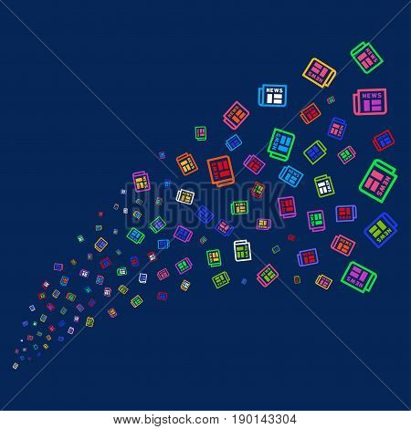 Source of newspaper symbols. Vector illustration style is flat bright multicolored newspaper iconic symbols on a blue background. Object stream combined from confetti symbols.