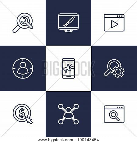 Set Of 9 Optimization Outline Icons Set.Collection Of Item Identifier, Targeting, Stock Exchange And Other Elements.