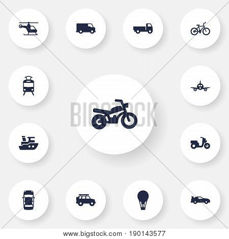 Set Of 13 Shipping Icons Set.Collection Of Streetcar, Lorry, Hatchback And Other Elements.