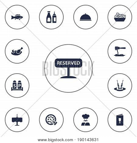 Set Of 13 Restaurant Icons Set.Collection Of Tray, Alcohol, Canape And Other Elements.