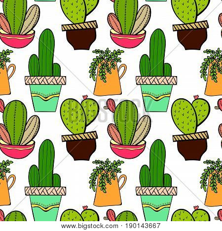 Seamless background pattern with cactus in pots. Indoor plants in a flat style. Natural background with cacti. Vector illustration.