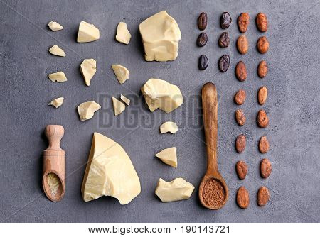 Composition with aromatic cocoa butter on table