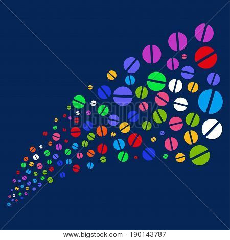 Fountain of pharmacy tablet icons. Vector illustration style is flat bright multicolored pharmacy tablet iconic symbols on a blue background. Object salute organized from confetti design elements.