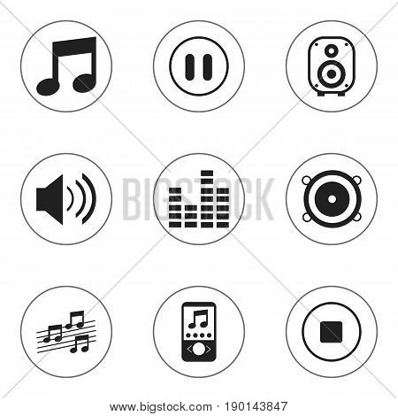 Set Of 9 Editable Media Icons. Includes Symbols Such As Stop, Bar Wave, Music Phone And More. Can Be Used For Web, Mobile, UI And Infographic Design.