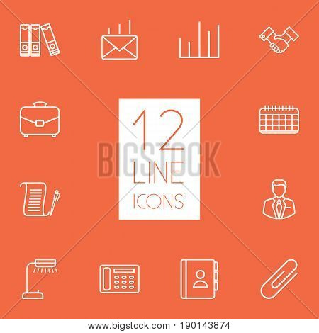 Set Of 12 Bureau Outline Icons Set.Collection Of Reading-Lamp, Telephone Directory, Date And Other Elements.