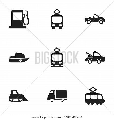 Set Of 9 Editable Shipment Icons. Includes Symbols Such As Truck, Tractor, Auto And More. Can Be Used For Web, Mobile, UI And Infographic Design.